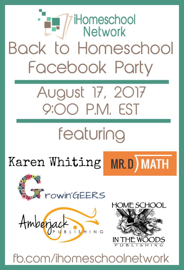 Start the homeschool year off right with a little Back to Homeschool Facebook Party to get you excited about the new year. You show up, we'll bring the prizes. August 17, 2017 9:00 P.M. EST
