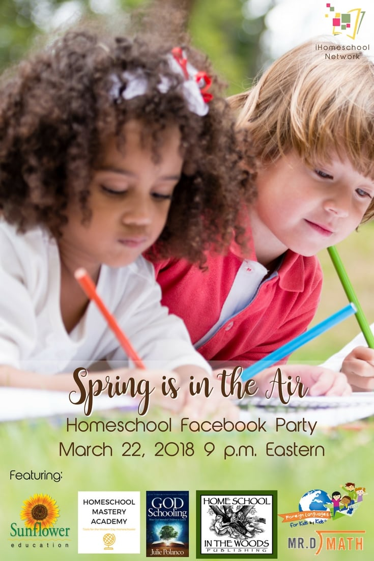 Coming Soon! iHomeschool Network's Facebook Party! Woot!! You know we love a good party! And spring is the perfect time for one. Join us March 22, 2018 at 9 p.m. Eastern #ihsnet #homeschool #parenting