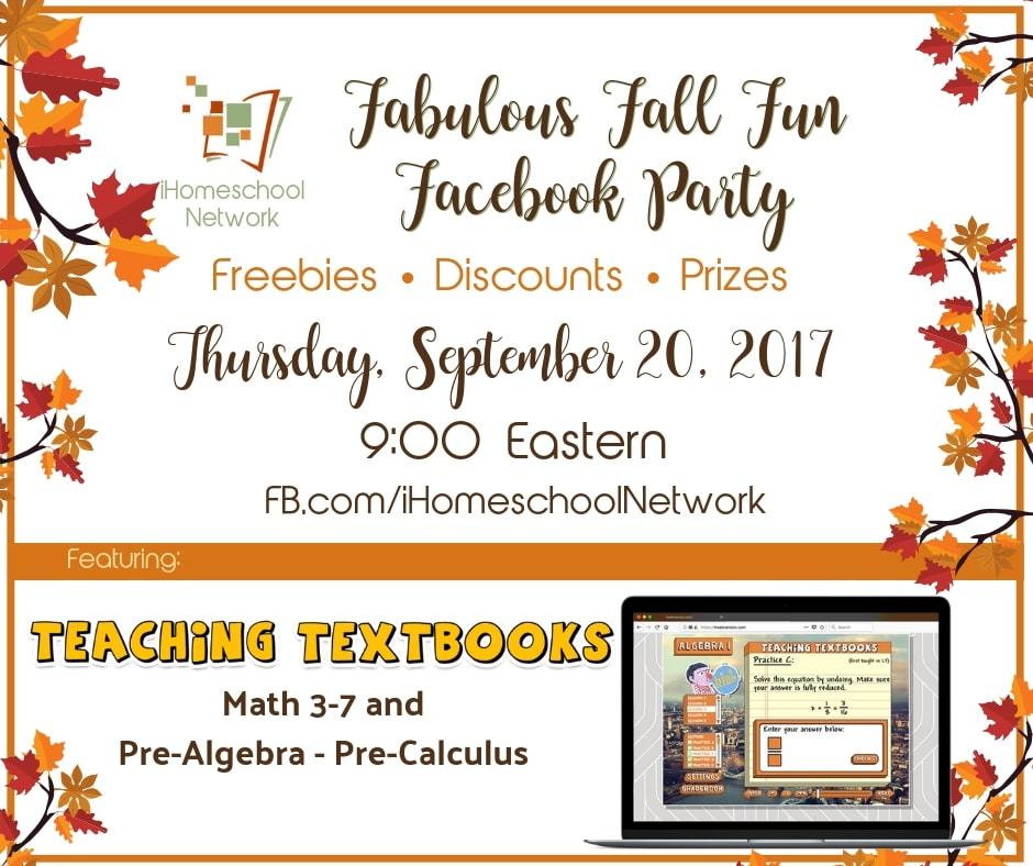 Teachimg Textbooks Fabulous Fall Fun Facebook Party with iHomeschool Network #ihsnet #