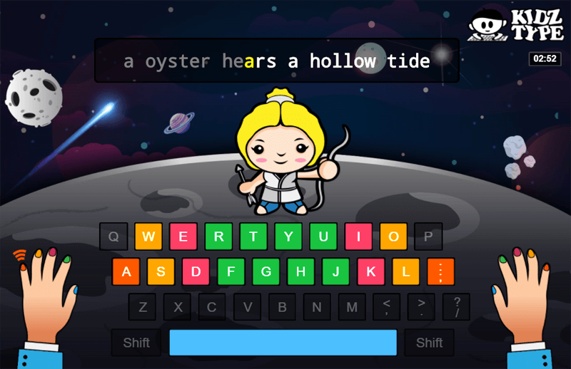 Screen view of online typing game