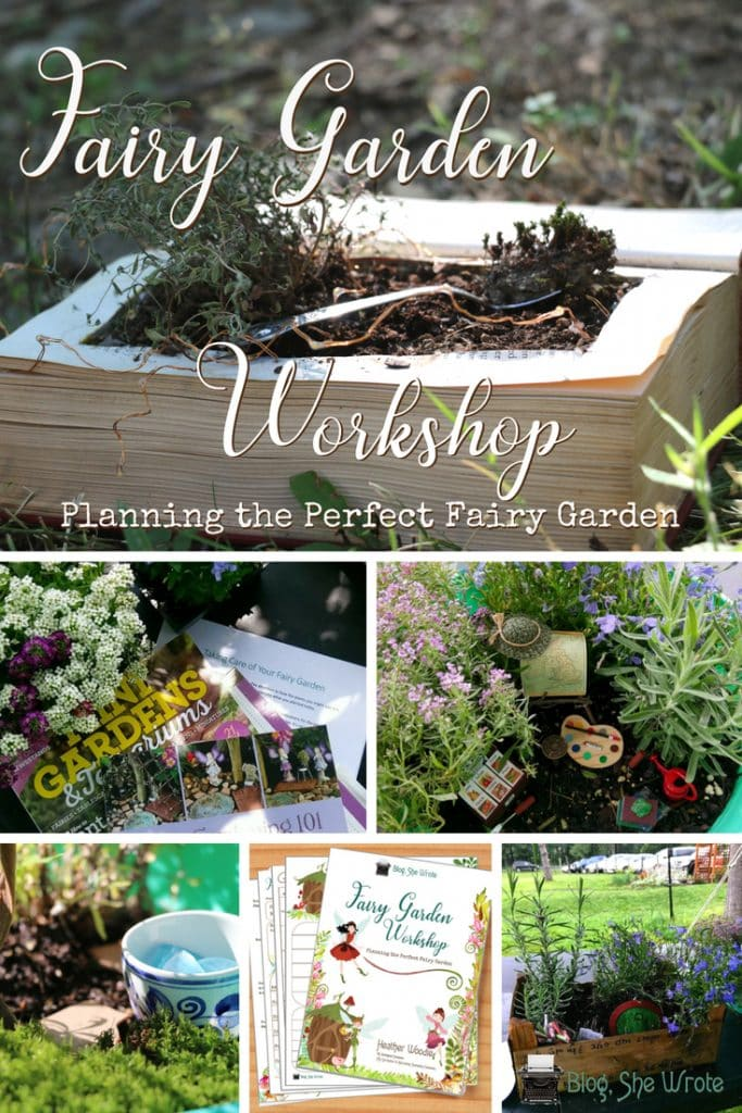 collage of fairy gardens with a picture of a fairy garden eBook